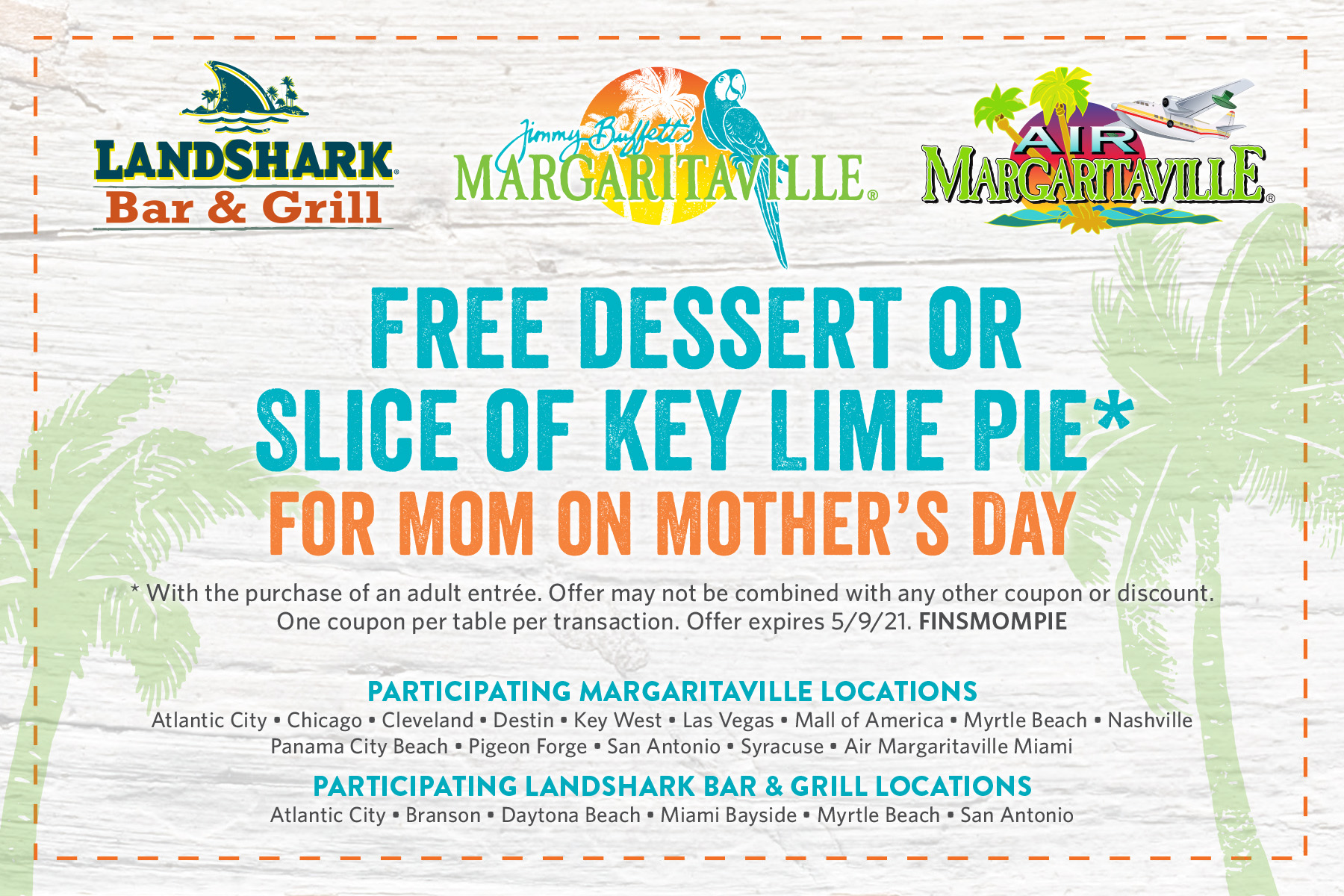 Free Dessert or Slive of Key Lime Pie for Mom on Mother's Day*