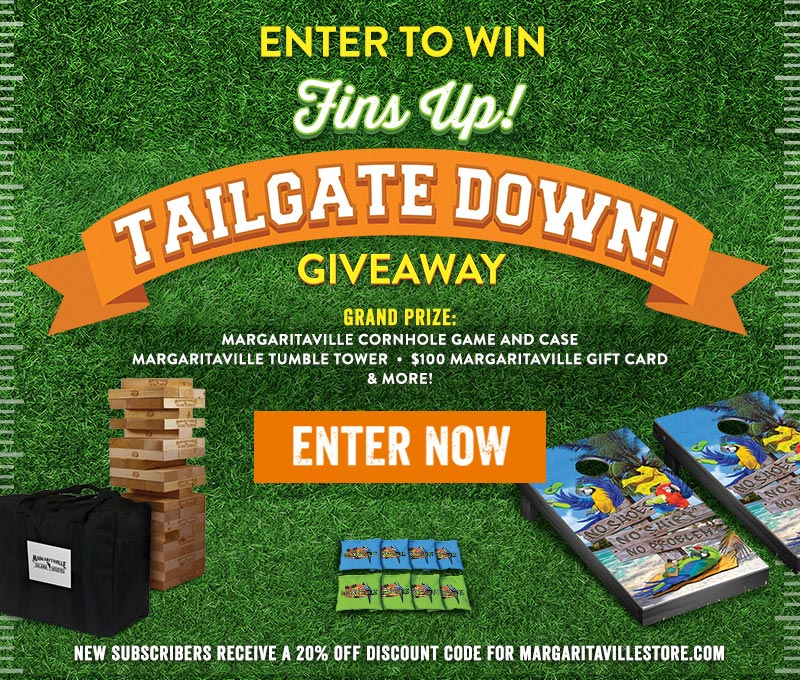 Enter To Win - Fins up! Tailgate down! Giveaway - Grand Prize: Margaritaville Cornhole Game and Case, Margaritaville Tumble Tower, $100 Margaritaville Gift Card & More! - New subscribers receive a 20% off discount code for Margaritavillestore.com