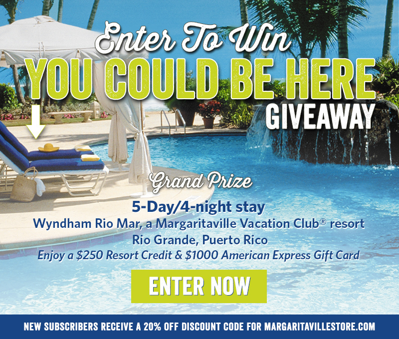 Enter To Win - You Could Be Here Giveaway - Enter to Win 5-Day/4-Night stay at Wyndham Rio Mar, a Margaritaville Vacation Club ® resort - Rio Grande, Puerto Rico. Enjoy a $250 Resort Credit & $1000 American Express Gift Card