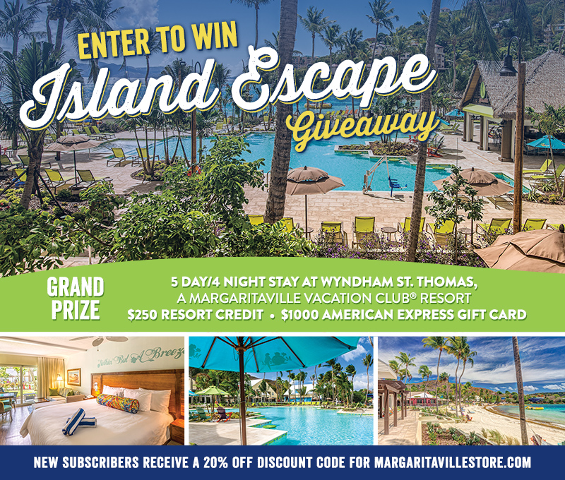 "Enter To Win - Margaritaville ""Island Escape"" Giveaway - Enter to Win 5 Day/4 Night Stay at Wyndham St. Thomas, A Margaritaville Vacation Club ® Resort, $250 Resort Credit and $1000 American Express Gift Card"