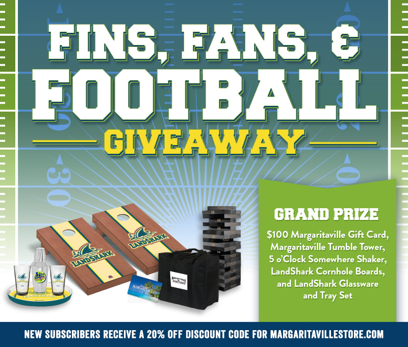 "Enter To Win - Margaritaville's ""Fins, Fans, & Football"" Giveaway - $100 Margaritaville Gift Card, Margaritaville Tumble Tower, 5 o'Clock Somewhere Shaker, Landshark Cornhole Boards and Landshark Glassware and Tray Set"