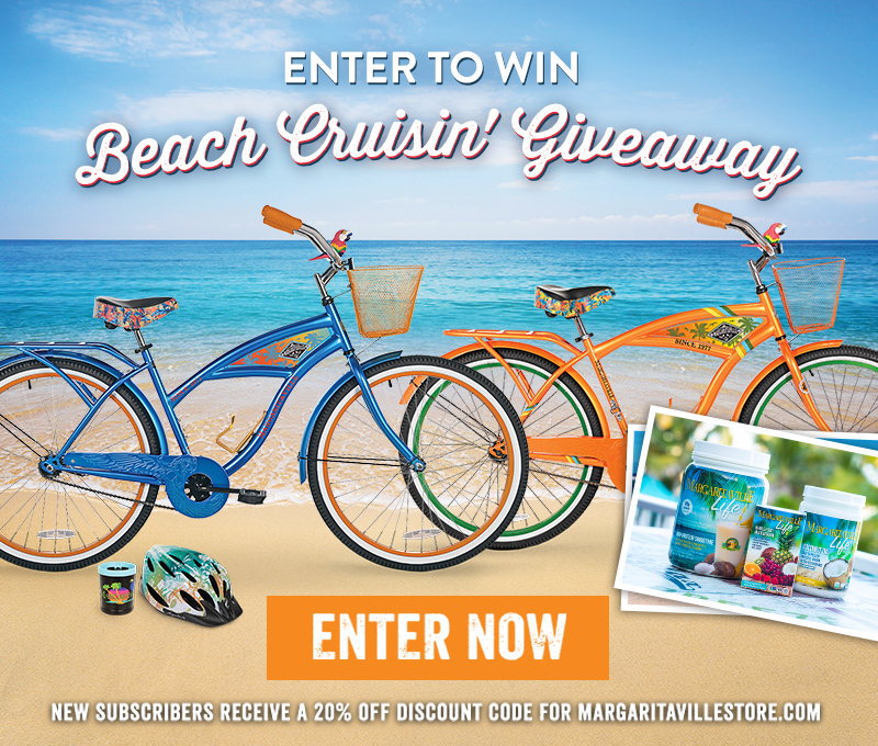 "Enter To Win - Margaritaville's ""Beach Cruisin'"" Giveaway - Two Margaritaville Beach Cruisers Complete With Parrot Horns, Cup Holders and Helmets. Margaritaville Life Products include High Protein Smoothie, Whole Food Multivitamin & Coconut Oil"