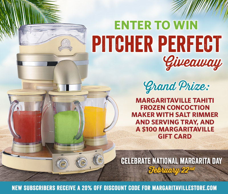 "Enter To Win - Margaritaville ""Pitcher Perfect"" Giveaway - Grand Prize: Margaritaville Tahiti Frozen Concoction Maker With Salt Rimmer And Serving Tray, And a $100 Margaritaville Gift Card"