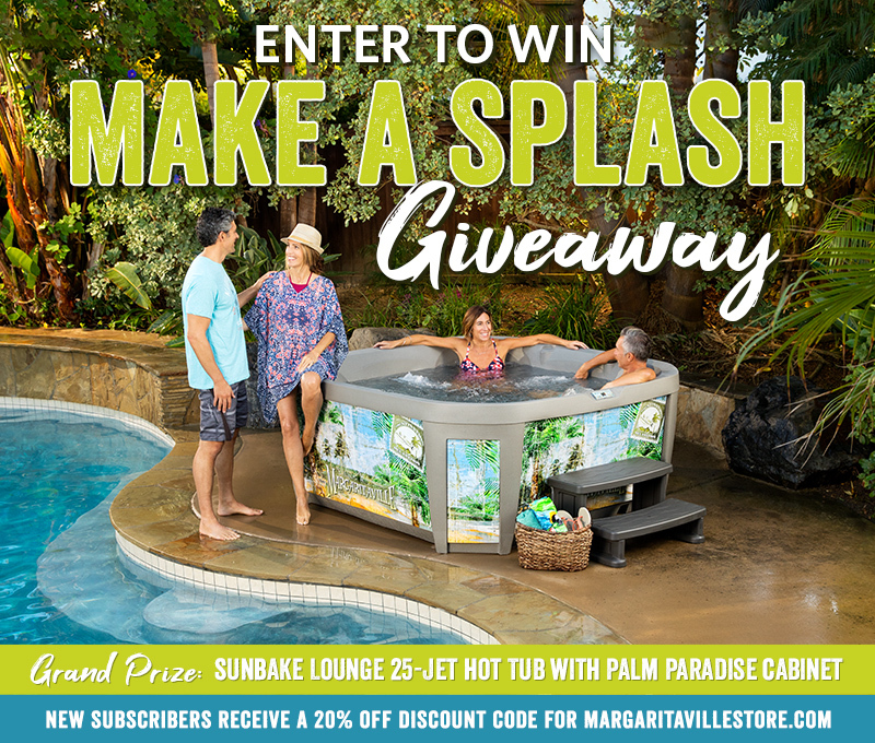 "Enter To Win - Margaritaville's ""Make A Splash"" Giveaway - Sunbake Lounge 25-Jet Hot Tub With Palm Paradise Cabinet"