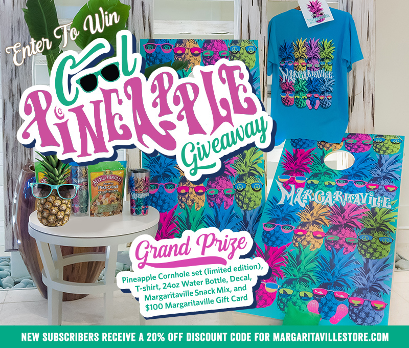 "Enter To Win - Margaritaville ""Cool Pineapple"" Giveaway - Grand Prize: Pineapple Cornhole set (limited edition), T-shirt, 24oz Water Bottle, Decal, Margaritaville Snack Mix, and $100 Margaritaville Gift Card"