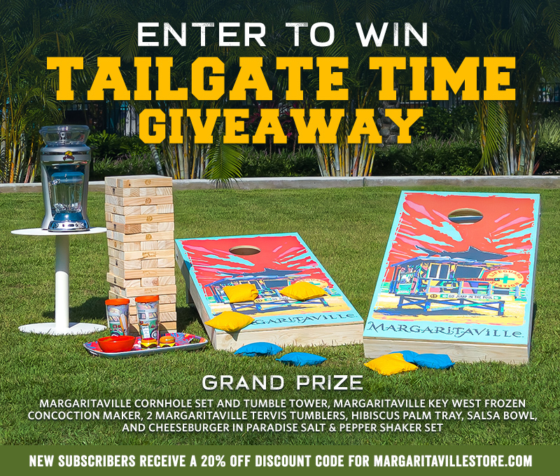 Enter To Win - Margaritaville's Tailgate Time Giveaway - Grand Prize: Margaritaville Cornhole Set And Tumble Tower, Margaritaville Key West Concoction Maker, 2 Margaritaville Tervis Tumblers, Hibiscus Palm Tray, Salsa Bowl, And Cheeseburger In Paradise Salt and Pepper Shaker Set