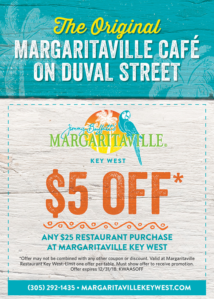 A image with a Flyer. $5 off. Any $25 restaurant purchase at margaritaville Key West. Visually impaired customers please call for assistance